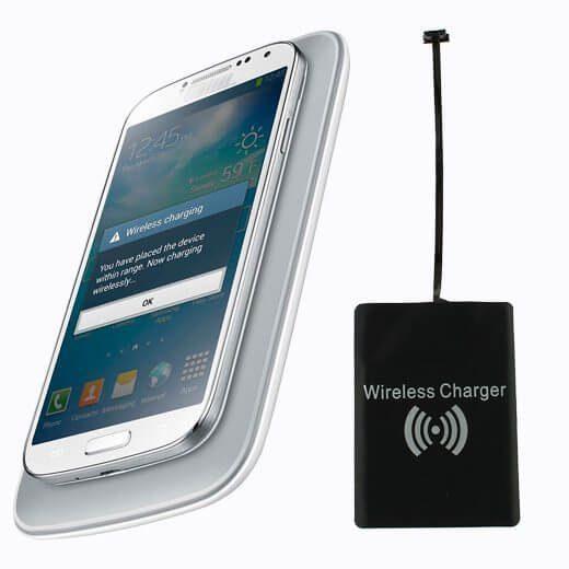 Qi-Adapter mit Micro-USB-Anschluss zum Nachrüsten aller nicht-Qi-fähiger Smartphones