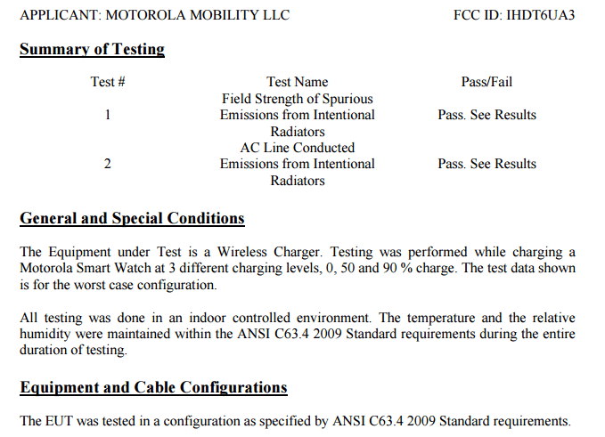 FCC Smartwatch Test mit Qi-Ladegerät