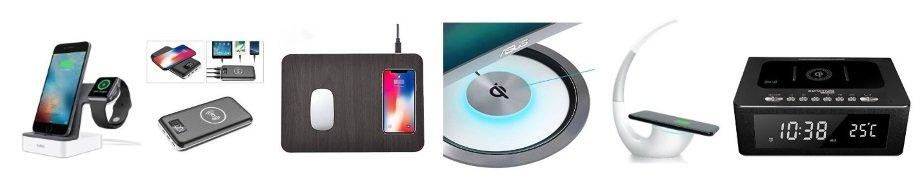 Im Bild: Ladegerät für Apple Watch - Kabellose Powerbank - Qi-Mauspad - Monitor mit Qi-Ladegerät im Standfuß - Qi-Lampe - Bluetooth Lautsprecher mit Qi-Funktion